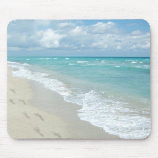 Footprints on White Sandy Beach, Scenic Aqua Blue Mouse Pads