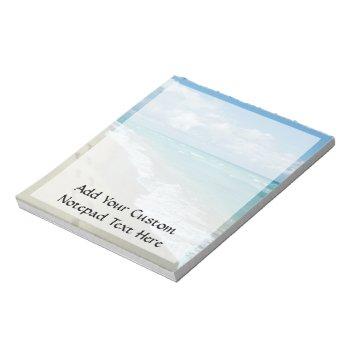 Footprints On White Sandy Beach  Scenic Aqua Blue Notepad by cutencomfy at Zazzle