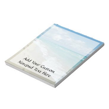 Beach Themed Footprints on White Sandy Beach, Scenic Aqua Blue Notepad