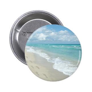 Footprints on White Sandy Beach, Scenic Aqua Blue Pinback Button