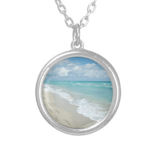 Footprints on White Sandy Beach, Scenic Aqua Blue Silver Plated Necklace