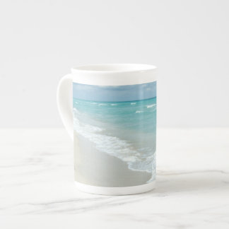 Footprints on White Sandy Beach, Scenic Aqua Blue Tea Cup
