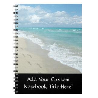 Footprints on White Sandy Beach, Scenic Aqua Blue Spiral Notebook