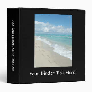 Footprints on White Sandy Beach, Scenic Aqua Blue Vinyl Binder