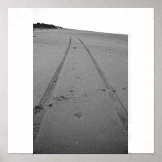 Footprints & Tire Tracks (B&W) Poster