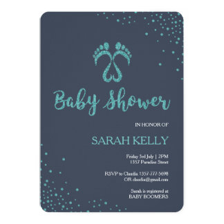 Footsteps baby shower invitation for boys