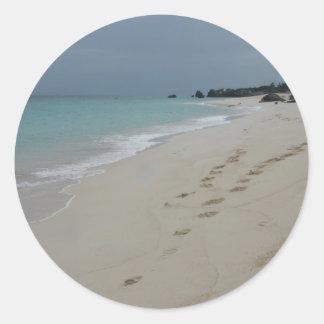 Footsteps in Bermuda Sand Classic Round Sticker