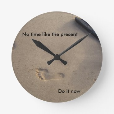 Beach Themed Footsteps in Sand Inspirational Encouragement Hope Round Clock