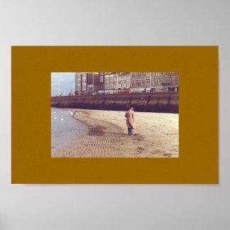 Footsteps in sand, Margate, Kent, England Poster