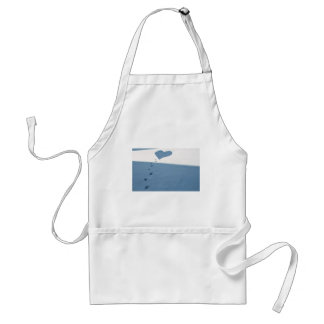 Footsteps In Snow Adult Apron