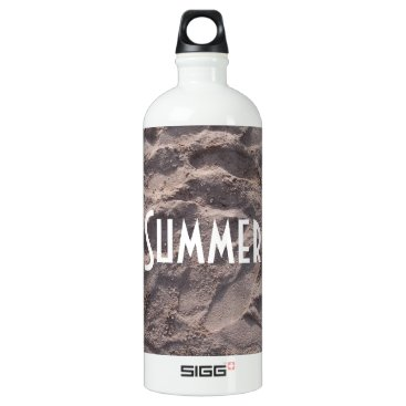 Beach Themed Footsteps in The Sand Beach Summer Holiday Aluminum Water Bottle