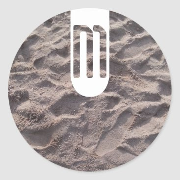 Beach Themed Footsteps in The Sand Beach Summer Holiday Classic Round Sticker