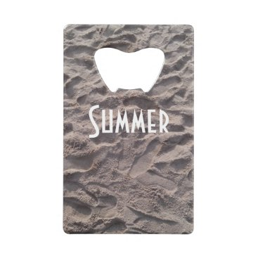 Beach Themed Footsteps in The Sand Beach Summer Holiday Credit Card Bottle Opener