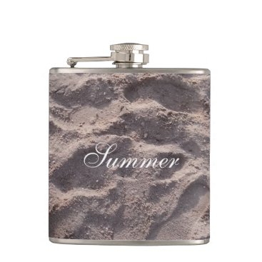 Beach Themed Footsteps in The Sand Beach Summer Holiday Hip Flask