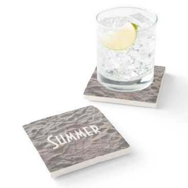 Beach Themed Footsteps in The Sand Beach Summer Holiday Stone Coaster