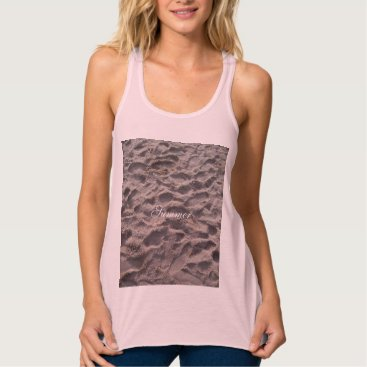 Beach Themed Footsteps in The Sand Beach Summer Holiday Tank Top
