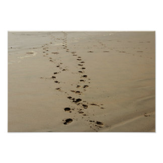 Footsteps Intertwined In Sand Poster