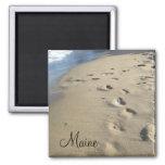 Footsteps on a sandy beach (Maine) Fridge Magnet