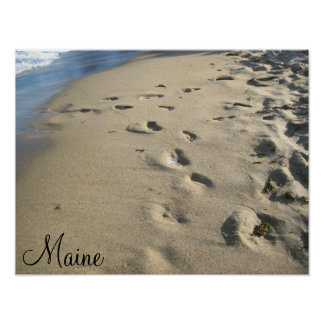 Footsteps on a sandy beach (Maine) Poster