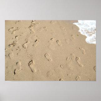 Footsteps on sand poster