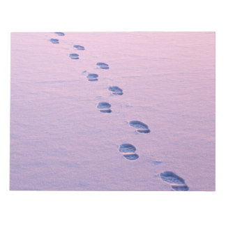 Footsteps on snow notepad