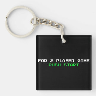 For 2 Player Game Push start Double-Sided Square Acrylic Keychain