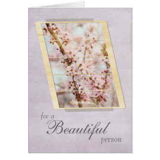 For a Beautiful Person Cherry Blossom Floral Card