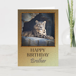 For a brother a Birthday with a snow leopard Card