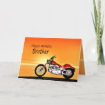 """For a Brother, Motorcycle sunset birthday Card<br><div class=""""desc"""">A motorbike similar to a Harley standing by the sea with a glorious orange sunset. A great card for anybody who likes biking and motorcycles.See the whole range of cards for ages and relationships in my store. All artwork copyright Norma Cornes</div>"""