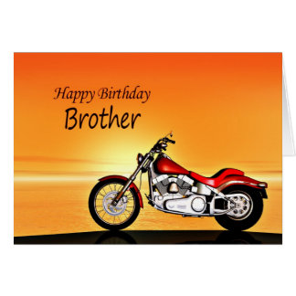 For a Brother, Motorcycle sunset birthday Greeting Card