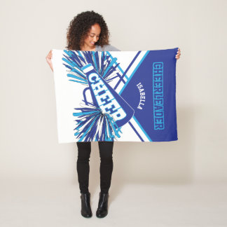 For a Cheerleader - Baby Blue, White & Blue Fleece Blanket