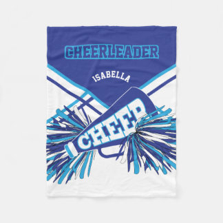 For a Cheerleader - Baby Blue, White & Blue Fleece Blanket