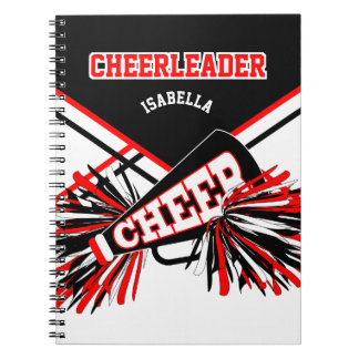 For a Cheerleader - Black, White & Red Notebook