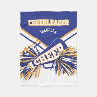For a Cheerleader - Blue, Gold & White Fleece Blanket