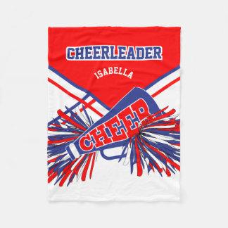 For a Cheerleader - Blue, White & Red Fleece Blanket