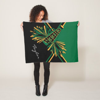 For a Cheerleader - Dark Green, Gold & Black Fleece Blanket
