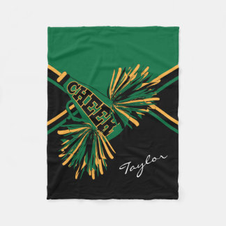For a Cheerleader - Dark Green, Gold & Black Fleece Blanket