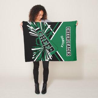 For a Cheerleader - Dark Green, White & Black Fleece Blanket