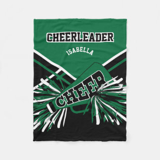 For a Cheerleader - Dark Green, White & Black Fleece Blanket