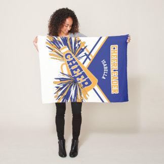 For a Cheerleader - Gold, White & Blue Fleece Blanket