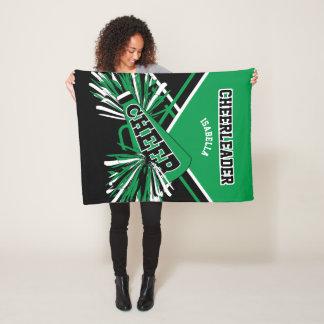 For a Cheerleader - Green, White & Black Fleece Blanket