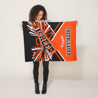 For a Cheerleader -Orange, Black & White Fleece Blanket