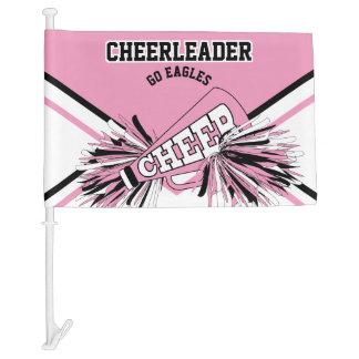 For a Cheerleader -Pink, White & Black Car Flag