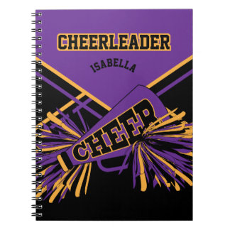 For a Cheerleader - Purple, Gold and Black Notebook