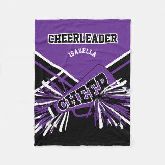 For a Cheerleader - Purple, White & Black Fleece Blanket