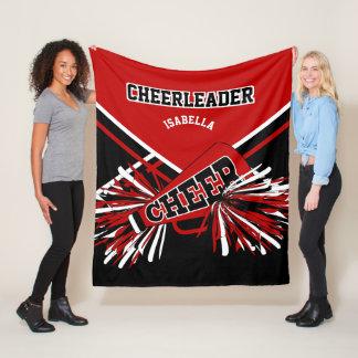 For a Cheerleader - Red, Black & White 2 Fleece Blanket