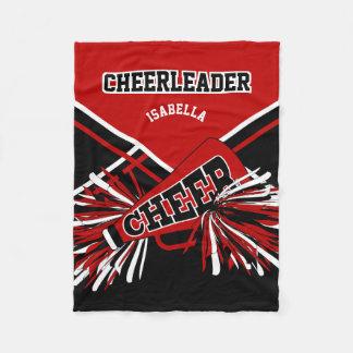 For a Cheerleader -Red, Black & White Fleece Blanket