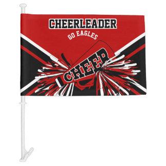 For a Cheerleader - Red, White & Black Car Flag