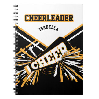 For a Cheerleader - White, Gold and Black Notebook