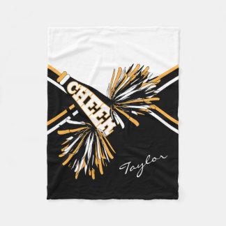 For a Cheerleader - White, Gold & Black Fleece Blanket